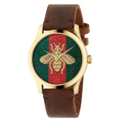 Gucci G-Timeless Bee Brown Leather Strap Watch YA126451A