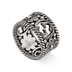 Gucci Interlocking G Wide Flower Band Ring - Size 11