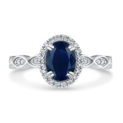 True by Hallmark Bridal Blue Sapphire and Diamond Vintage-Inspired Engagement Ring 1/4ctw