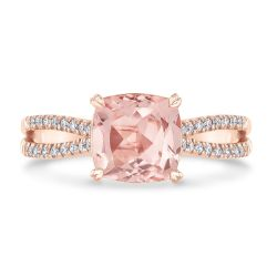 True by Hallmark Bridal Cushion Morganite and Diamond Split-Band Engagement Ring 1/5ctw