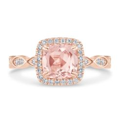 True by Hallmark Bridal Morganite and Diamond Vintage-Inspired Engagement Ring 1/4ctw