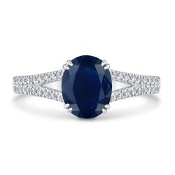 True by Hallmark Bridal Oval Blue Sapphire and Diamond Engagement Ring 1/4ctw