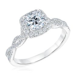 Halo Cushion Diamond Twist Engagement Ring 1 1/3ctw