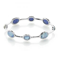 IPPOLITA Silver Rock Candy Eight-Stone Bangle Bracelet in Lapis Triplet