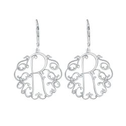 Alison and Ivy Vine Initial Leverback Monogram Earrings 25mm