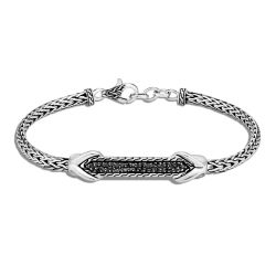 John Hardy Asli Classic Chain Link ID Black Sapphire and Spinel Sterling Silver Bracelet