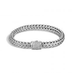 John Hardy Classic Chain 7.5mm Bracelet in Sterling Silver with Diamonds 1/4ctw