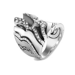 John Hardy Lahar Diamond Saddle Ring in Sterling Silver 7/8ctw - Size 7