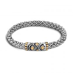 John Hardy Legends Naga Station Bracelet in Sterling Silver and Gold, 6mm