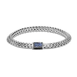 John Hardy Tiga Classic Chain 6.5mm Blue and Black Sapphire and Spinel Bracelet, Medium