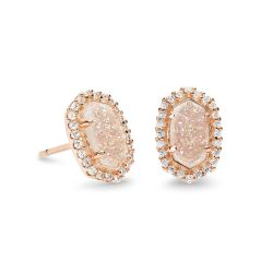Kendra Scott Cade Earrings in Iridescent Drusy, Rose Gold Plated
