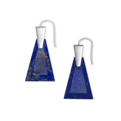 Kendra Scott Collins Small Drop Earrings in Blue Lapis, Bright Silver-Tone