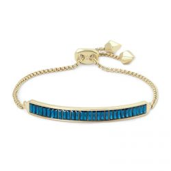 Kendra Scott Jack Chain Bracelet in Peacock Blue Crystal, Gold-Plated