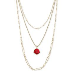 Kendra Scott Vanessa Multi-Strand Necklace in Cherry Red Illusion, Gold-Plated