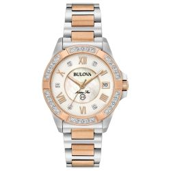 Ladies' Bulova Marine Star Diamond Two-Tone Rose Gold-Tone Stainless Steel Watch 98R234