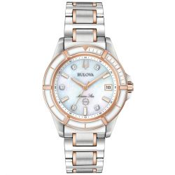 Ladies' Bulova Marine Star Diamond Two-Tone Rose Gold-Tone and Stainless Steel Watch 98P187