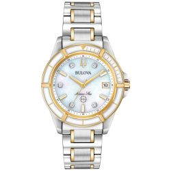 Ladies' Bulova Marine Star Diamond Two-Tone Yellow Gold-Tone and Stainless Steel Watch 98P186