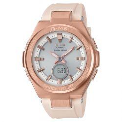 Ladies' Casio Baby-G G-MS Series Rose Gold-Tone and Blush Resin Strap Watch MSGS200G-4A