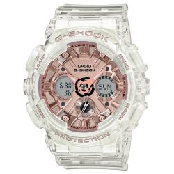 Ladies' Casio G-Shock S-Series Transparent Rose Gold-Tone Dial Watch GMAS120SR-7A
