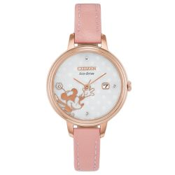 Ladies' Citizen Eco-Drive Disney Minnie Mouse Diamond Accent Pink Leather Strap Watch EW2448-01W