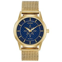 Ladies' Citizen Eco-Drive Marvel Captain Marvel Yellow Gold-Tone Stainless Steel Watch FE7062-51W