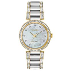 Ladies' Citizen Eco-Drive Silhouette Crystal Mother-of-Pearl Dial Watch EM0844-58D