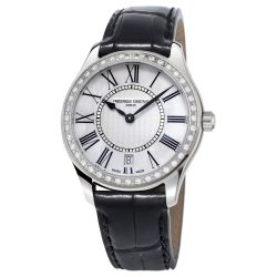Ladies' Frederique Constant Classic Quartz Black Leather Diamond Watch FC-220MPW3BD6