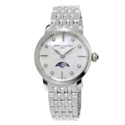 Ladies' Frederique Constant Slimline Moonphase Stainless Steel and Diamond Watch FC-206MPWD1S6B