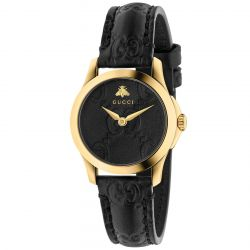Ladies' Gucci G-Timeless Black Leather Strap Watch YA126581