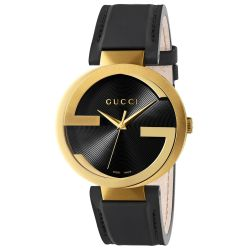 Ladies' Gucci Interlocking G Black Leather Strap Watch YA133212