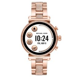 Ladies' Michael Kors Access Sofie Heart Rate Crystal Pavé Rose Gold-Tone Smartwatch MKT5066