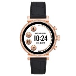Ladies' Michael Kors Access Sofie Heart Rate Rose Gold-Tone and Black Embossed Silicone Smartwatch MKT5069
