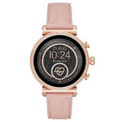 Ladies' Michael Kors Access Sofie Heart Rate Rose Gold-Tone and Embossed Silicone Smartwatch MKT5068