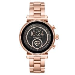 Ladies' Michael Kors Access Sofie Heart Rate Rose Gold-Tone Smartwatch MKT5063