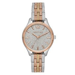 Ladies' Michael Kors Lexington Tri-Tone Stainless Steel Pavé Crystal Accented Watch MK6681