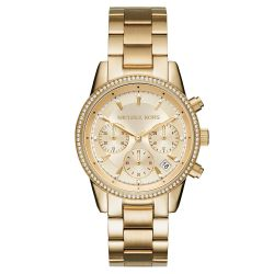 Ladies' Michael Kors Ritz Chronograph Gold-Tone Stainless Steel Watch MK6356