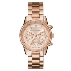 Ladies' Michael Kors Ritz Chronograph Rose Gold-Tone Stainless Steel Watch MK6357