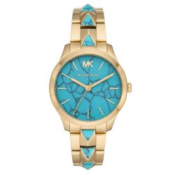 Ladies' Michael Kors Runway Mercer Gold-Tone Stainless Steel and Turquoise Watch MK6670