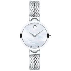 Ladies' Movado Amika Mother Of Pearl Dial Stainless Steel Mesh Bangle Watch 0607361