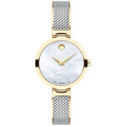 Ladies' Movado Amika Mother Of Pearl Dial Two-Tone Mesh Bangle Watch 0607362