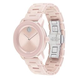 Ladies' Movado BOLD Blush Ceramic Crystal Accent Watch 3600536
