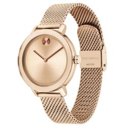 Ladies' Movado BOLD Evolution Pale Rose Gold-Tone Stainless Steel Mesh Bracelet Watch 3600654