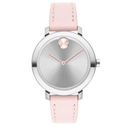 Ladies' Movado BOLD Evolution Stainless Steel and Pink Leather Strap Watch 3600641