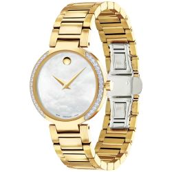 Ladies' Movado Modern Classic Mother Of Pearl Dial Gold-Tone Diamond Watch 0607368