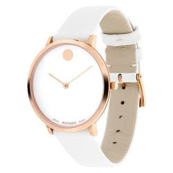 Ladies' Movado Museum Classic Exclusive Special Edition White Leather Strap Watch 607139