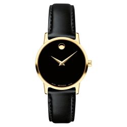 Ladies' Movado Museum Classic Yellow Gold-Tone Black Calfskin Leather Strap 0607275