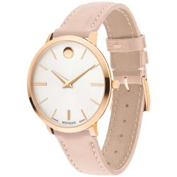 Ladies' Movado Ultra Slim Light Pink Leather Watch 0607373