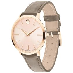 Ladies' Movado Ultra Slim Rose Gold-Tone Taupe Leather Watch 0607374