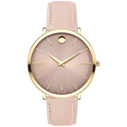Ladies' Movado Ultra Slim Yellow Gold-Tone Light Pink Leather Strap Watch 0607401