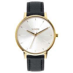 Ladies' Nixon Kensington Gold-Tone and Black Leather Watch A108-1964